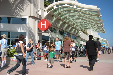 Attendees of San Diego Comic Con outside Convention Center