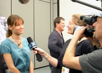 Video Producer Patty Mooney and DP Mark Schulze interview Oscar Award Winning Actor Hilary Swank at San Diego Comic Con