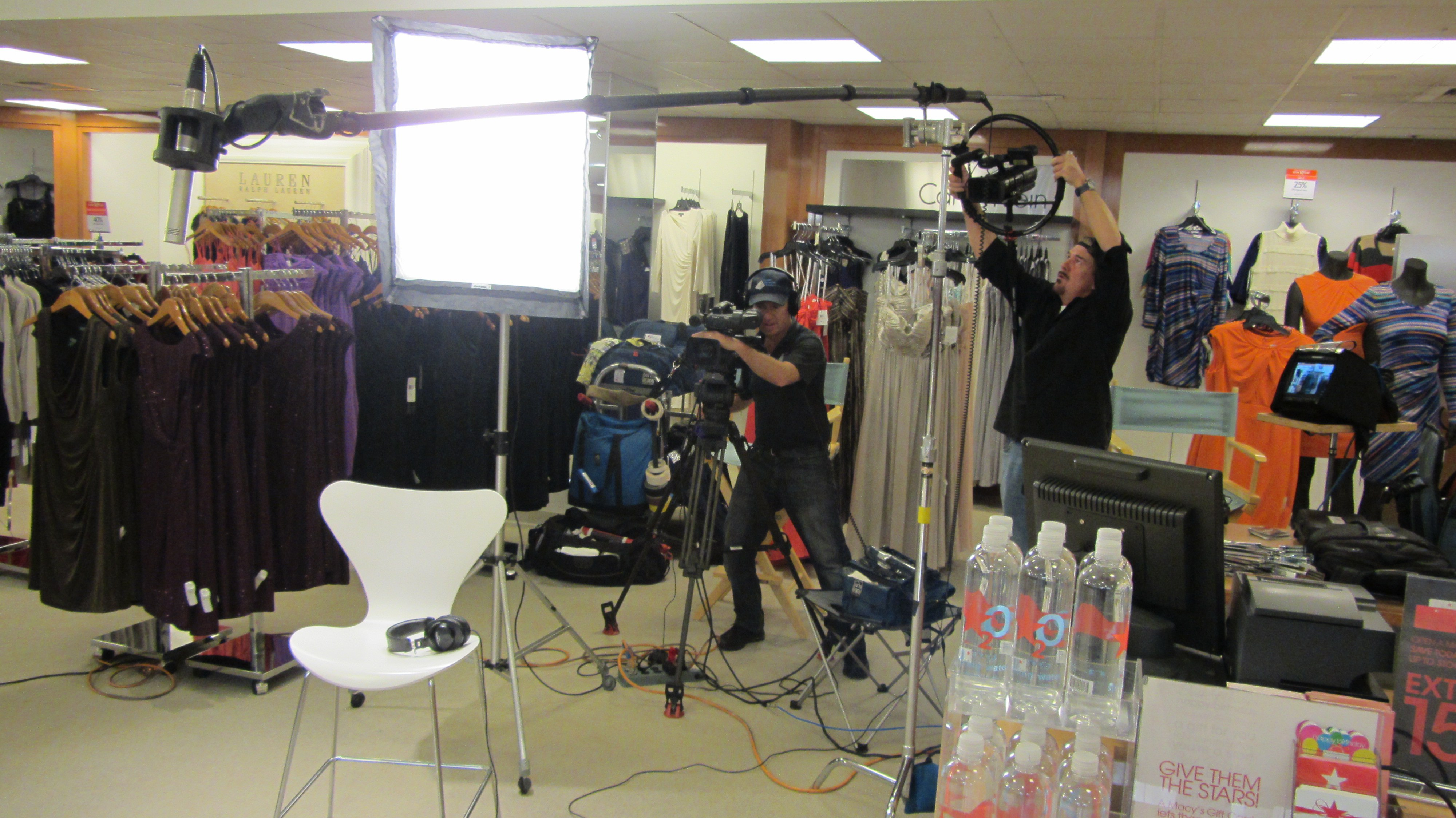 Audio and lighting gear Macys video production