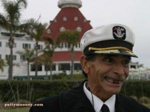 Sandman standing in front of Hotel Del Coronado