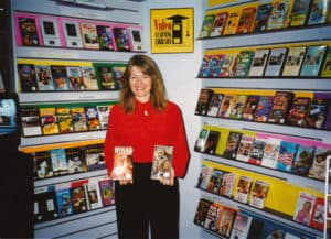 San Diego video producer Patty Mooney at Video Learning Library booth, VSDA Show, Las Vegas 1995