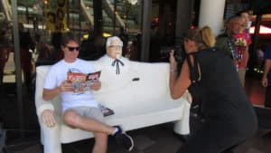 Colonel Sanders bench near SDCC