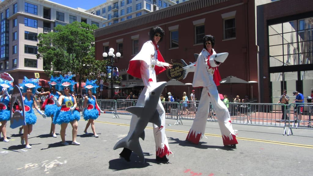 SDCC Costumed Characters March along 5th Avenue in San Diego Gaslamp